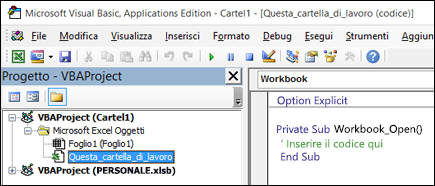 Modulo ThisWorkbook in Visual Basic Editor (VBE)