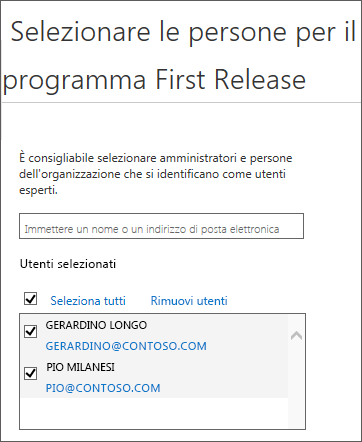 Aggiunta di utenti ai programmi di rilascio per Office 365