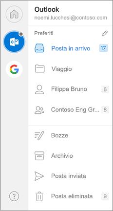Riquadro di spostamento di Outlook con i Preferiti nella parte superiore