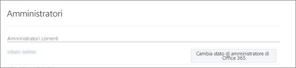 Screenshot che mostra un account di amministratore verificato sincronizzato come amministratore globale in Office 365