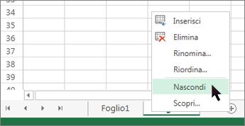 Fare clic con il pulsante destro del mouse sulla scheda del foglio e scegliere Nascondi per non mostrare un foglio di lavoro.