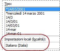 Casella Impostazioni locali selezionata nella finestra di dialogo Formato celle