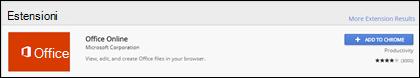 Estensione Office Online ufficiale in Chrome Web Store