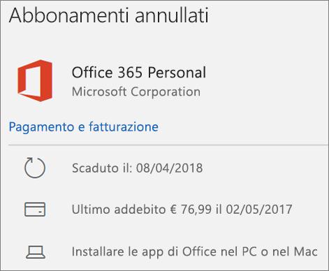 Mostra un abbonamento a Office 365 scaduto