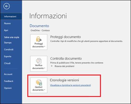 Il pulsante Gestisci versioni consente di ripristinare versioni precedenti del documento