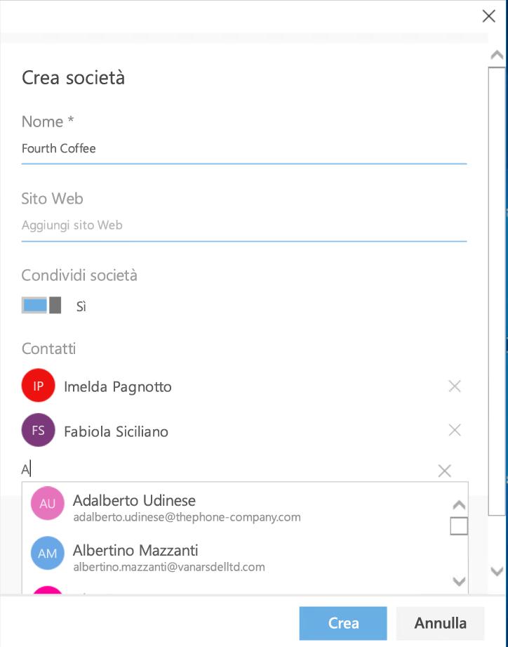 Creare una nuova società e aggiungere contatti