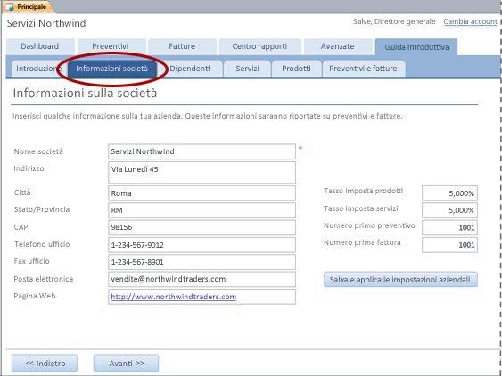Scheda Informazioni società del modello di database Servizi