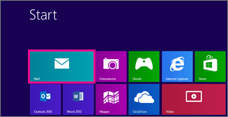 Pagina Start di Windows 8 che mostra il riquadro Mail
