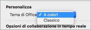 Elenco a discesa tema di Office in cui l'utente può selezionare un tema colorato o classico