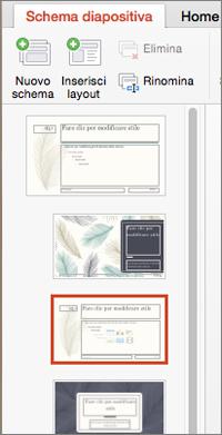 Riquadro di anteprima con i layout durante la modifica dello schema diapositiva