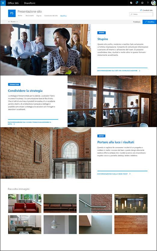 Struttura Presentazione per il sito di comunicazione di SharePoint