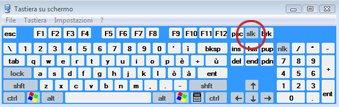 Tastiera su schermo di Windows con tasto BLOC SCORR