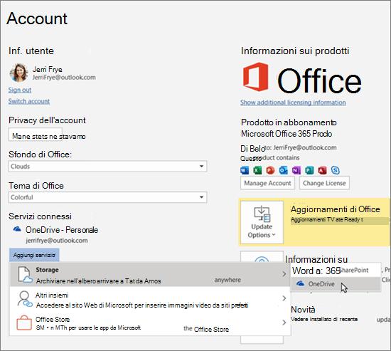 """Riquadro Account nelle app di Office, in cui è evidenziata la selezione dello spazio di archiviazione di OneDrive per l'opzione """"Aggiungi un servizio"""" in Servizi connessi"""