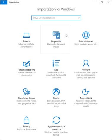 Immagine delle impostazioni del dispositivo Windows