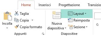 Il pulsante Layout nella scheda Home di PowerPoint mostra tutti i layout diapositiva disponibili