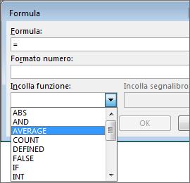 Funzioni Incolla di una formula visualizzate nella scheda Layout in Strumenti tabella.