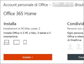 Per i piani di Office 365 selezionare Installa nella home page Account personale di Office