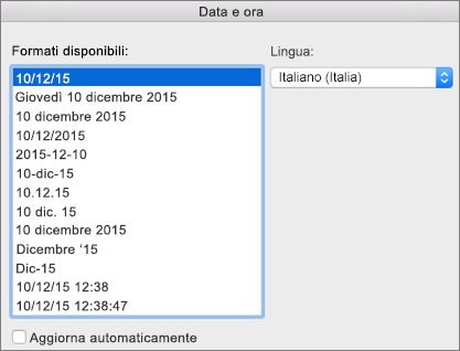Finestra di dialogo Data e ora