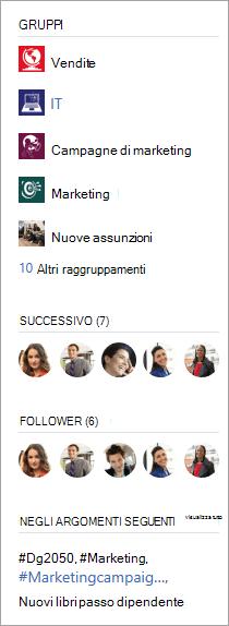 Barra laterale che mostra chi stai seguendo e chi ti sta seguendo