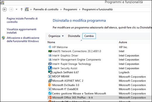 Fare clic su Cambia nell'applet Disinstalla un programma per avviare un ripristino di Microsoft Office