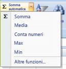 utilizzo della funzionalità conta numeri del comando somma automatica