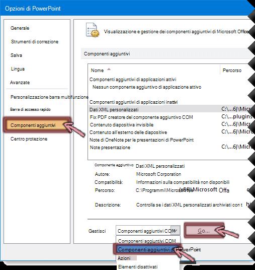 Aprire l'elenco dei componenti aggiuntivi di PowerPoint e quindi fare clic su Vai