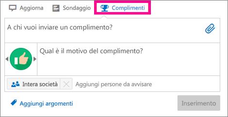 Finestra di dialogo Complimento