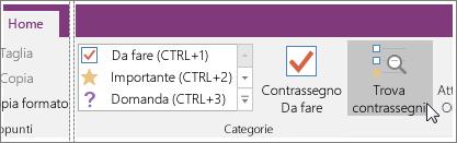 Screenshot del pulsante Trova contrassegni in OneNote 2016