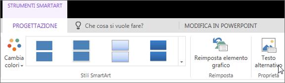 Screenshot che mostra la scheda Progettazione di Strumenti SmartArt con il cursore posizionato sull'opzione Testo alternativo.