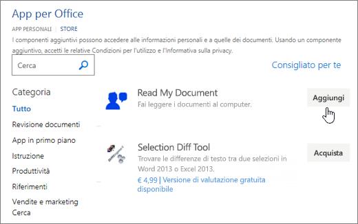 Screenshot che mostra la pagina App per Office nell'archivio in cui è possibile selezionare o cercare un'app per Word.