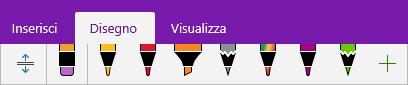 Raccolta di penne in OneNote con le penne personalizzate