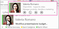 Menu rapido di Skype for Business in Outlook
