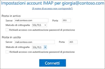 Verificare le impostazioni degli account di posta elettronica