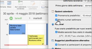 Calendario a sinistra e finestra di dialogo a destra