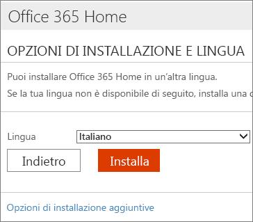 Nella pagina Opzioni di installazione e lingua selezionare il collegamento Opzioni di installazione aggiuntive