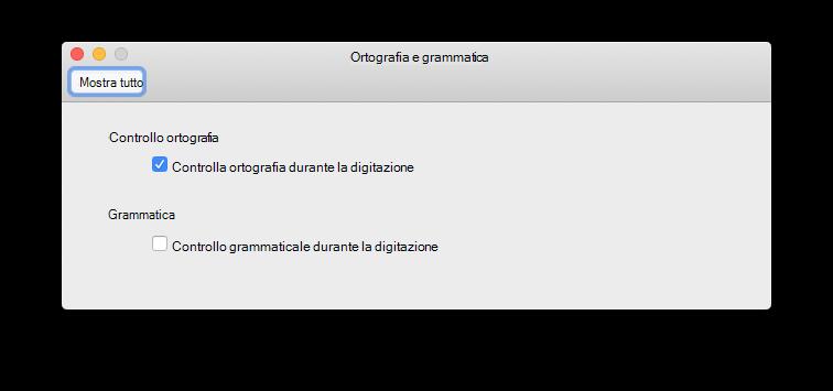 Controllare l'ortografia come preferenza del tipo
