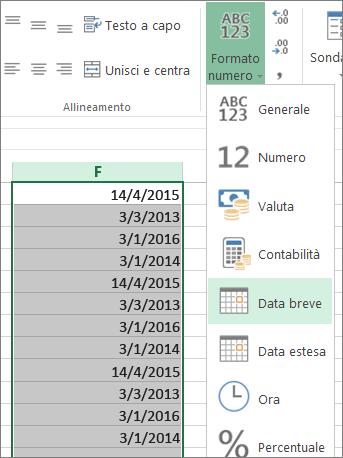 convertire i dati nel formato data in cifre dalla barra multifunzione