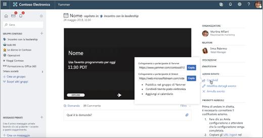Opzioni in Yammer per un'app esterna o un evento live del dispositivo