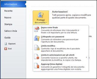 pulsante proteggi documento con opzioni