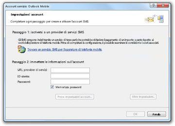 Ricerca di un provider del servizio SMS
