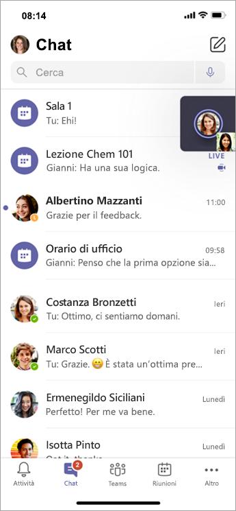 Chat gruppo di lavoro su dispositivi mobili.