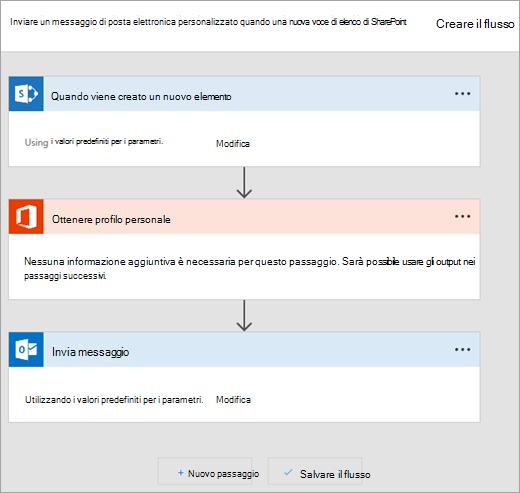 Seguire le istruzioni del sito Microsoft Flow connettere il flusso