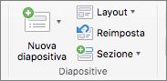 Screenshot che mostra il gruppo di diapositive con le opzioni di nuova diapositiva, Layout, Ripristina e sezione.