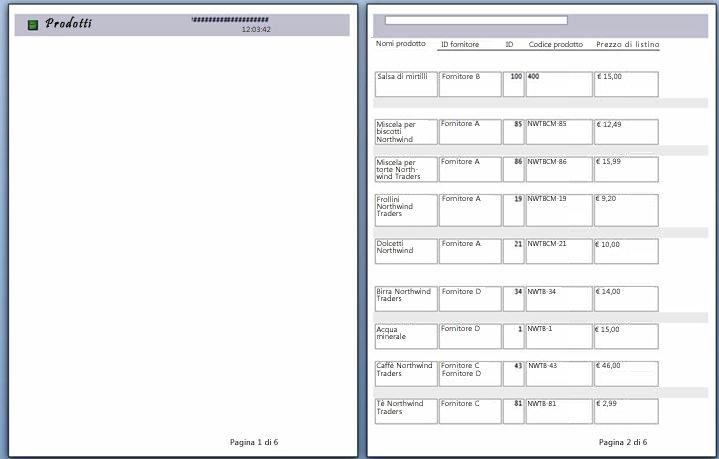Anteprima di stampa delle pagine del report con interruzione di pagina applicata