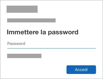 Immettere la password per l'account
