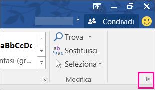 Nella parte superiore destra dello schermo scegliere l'icona della puntina per aggiungere la barra multifunzione alla pagina in modo che resti visualizzata.