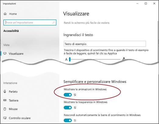 Menu di visualizzazione accessibilità con l'opzione Mostra animazioni in Windows evidenziata.