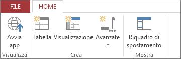 Salva l'app e la avvia nella visualizzazione browser.