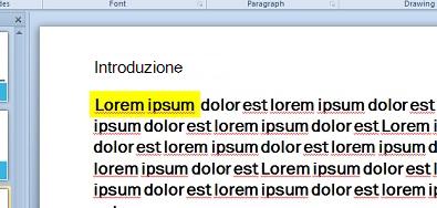Evidenziazione del testo simulata con casella di testo con riempimento a colori
