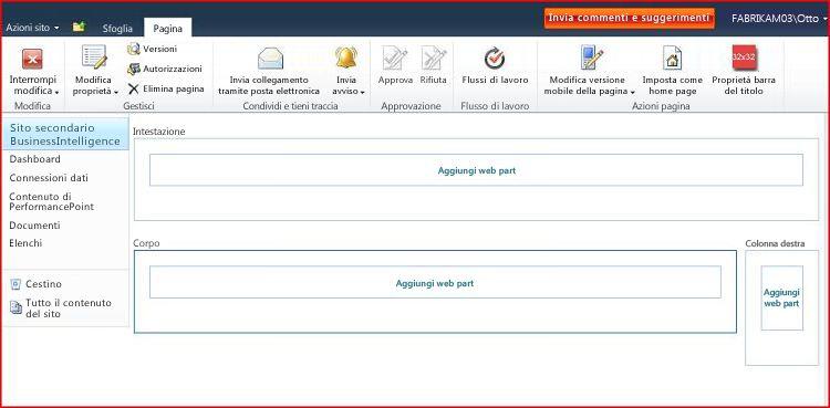 Una pagina web part contiene aree per l'aggiunta di web part